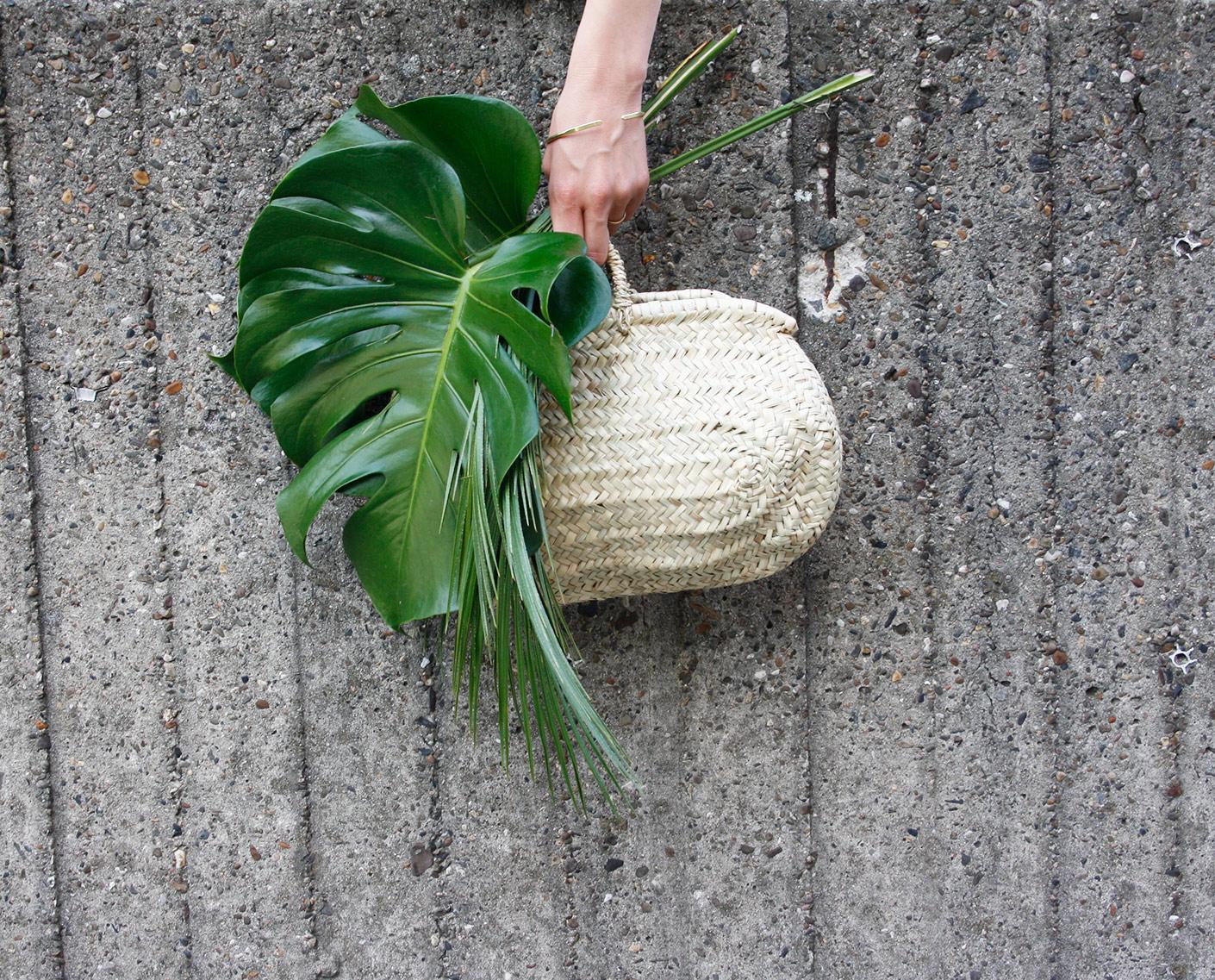 Korbtasche, oval, Palmenblatt